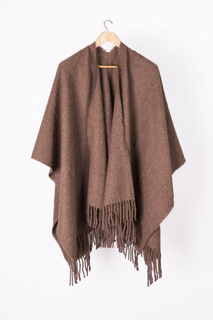 Natural Brown Llama and Sheep Wool Poncho.