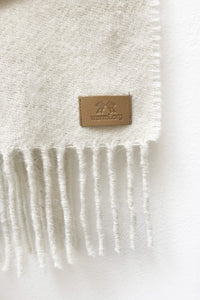 Natural white llama and sheep wool shawl