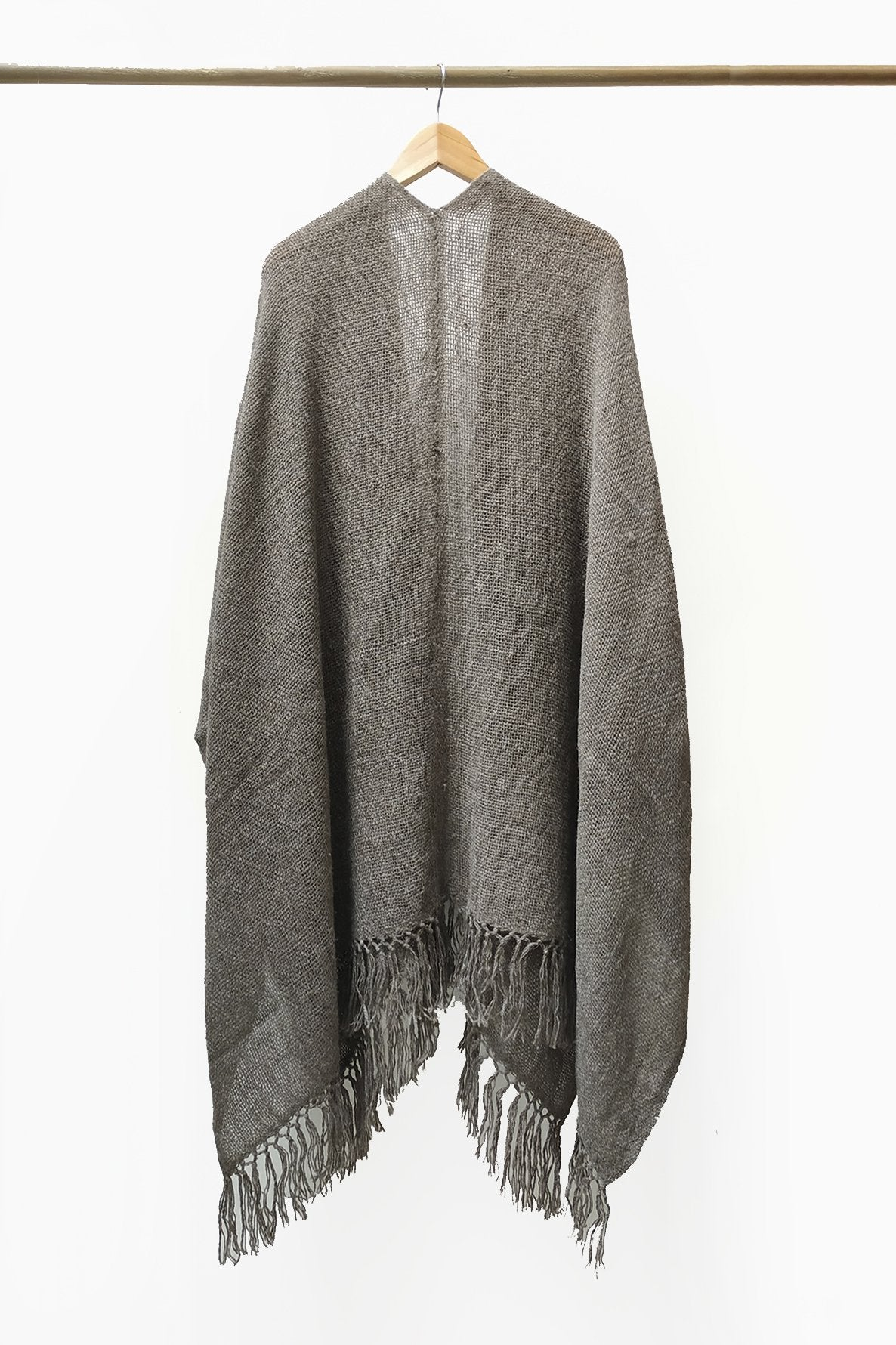 Back of Gray Mink Llama Handwoven Poncho.