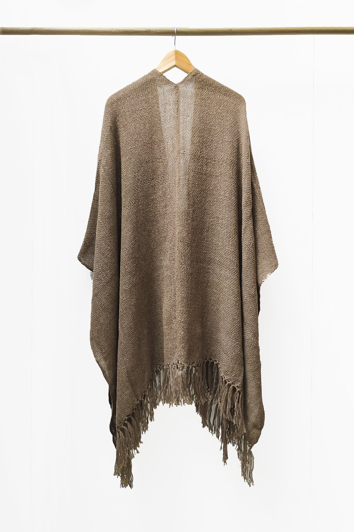 Back of Natural Brown Llama Handwoven Poncho.