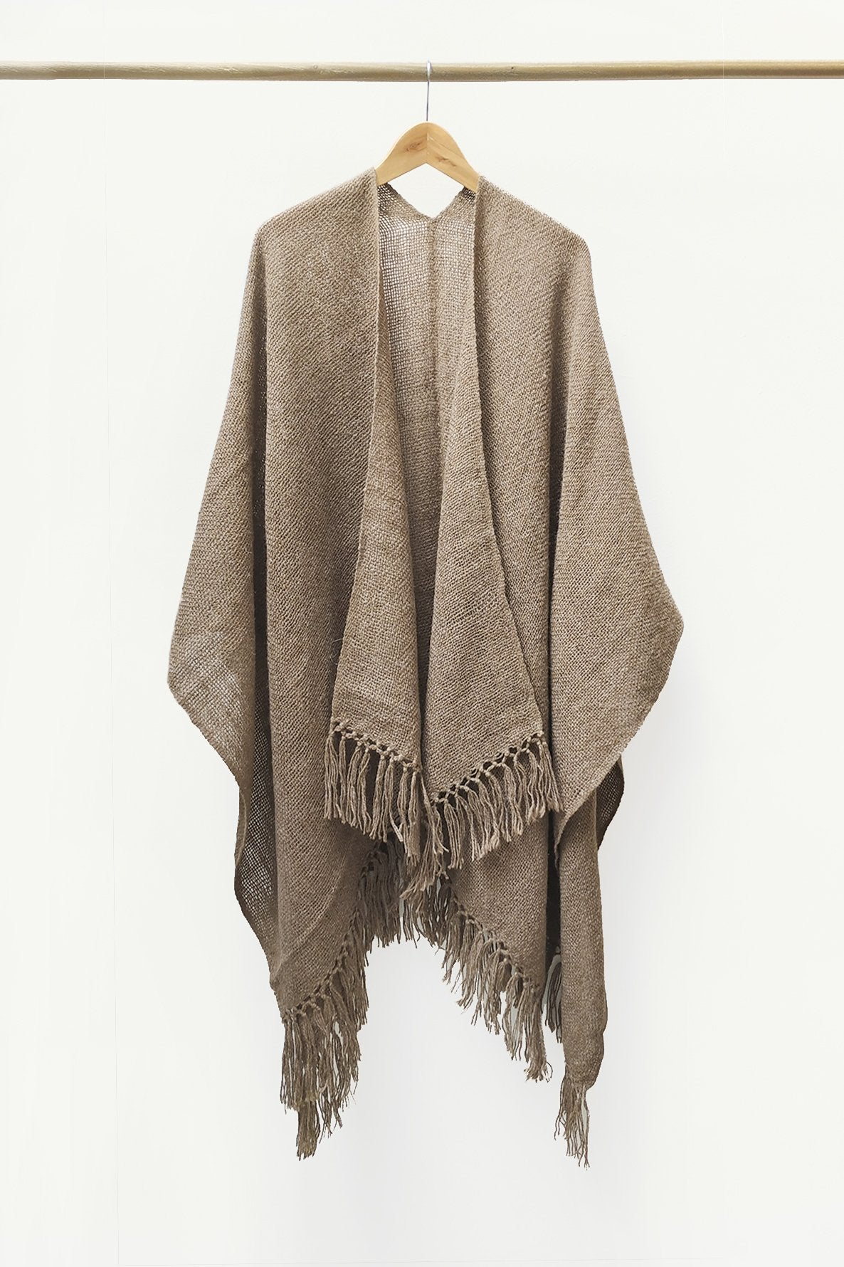 Natural Brown Llama Handwoven Poncho.