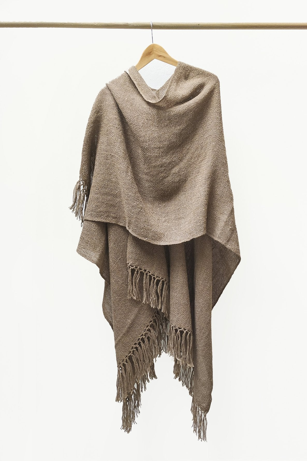 Wrapped Natural Brown Llama Handwoven Poncho.