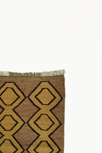 Load image into Gallery viewer, Close up of Brown Medium size Wool Tapestry with Ochre and Black details with fringe ends.