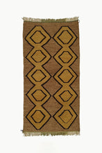 Load image into Gallery viewer, Brown Medium size Wool Tapestry with Ochre and Black details with fringe ends.