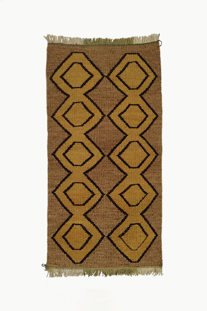 Brown Medium size Wool Tapestry with Ochre and Black details with fringe ends.