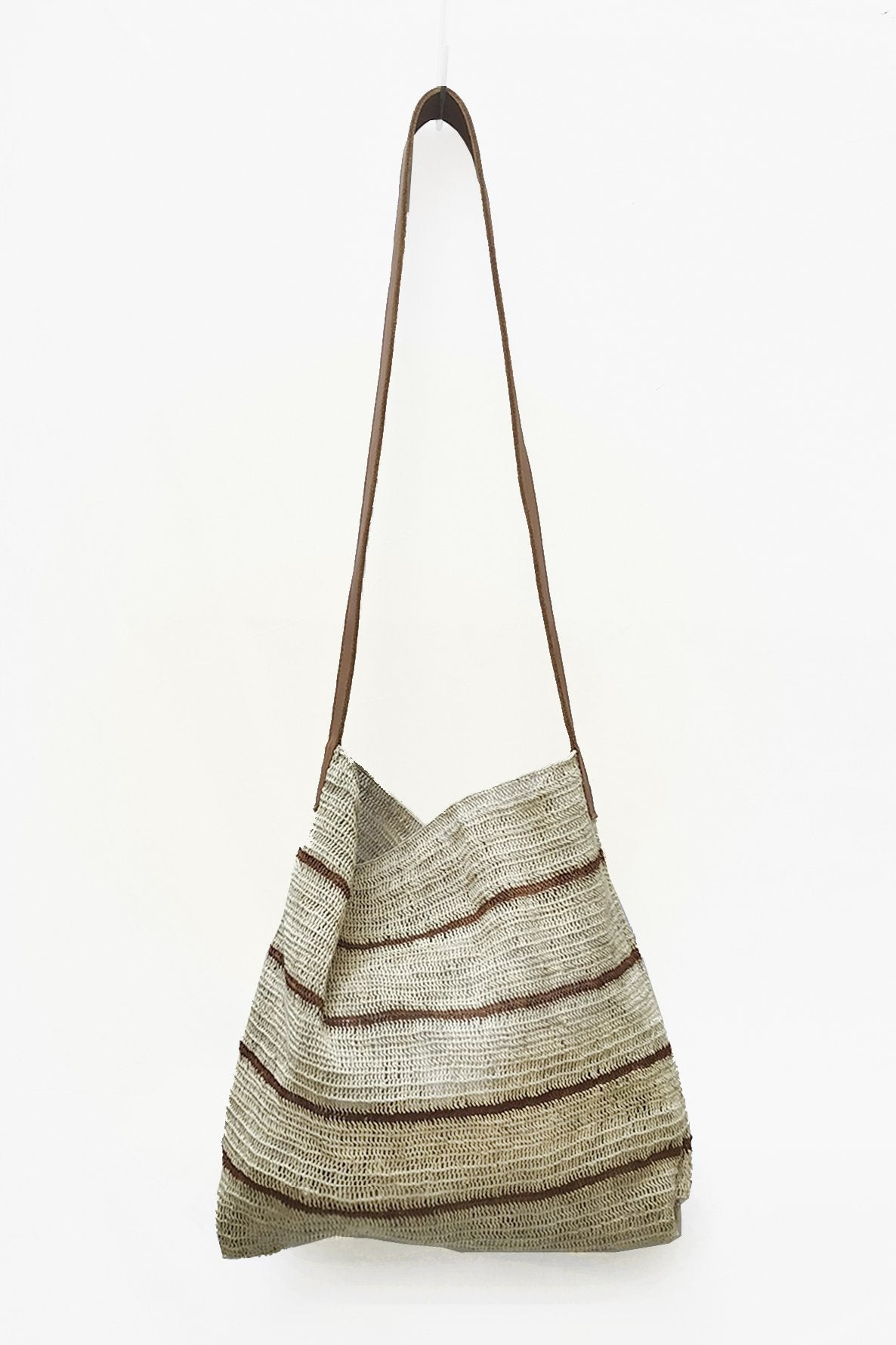 Natural White Chaguar Purse with Thin Brown Stripes and Leather Strap.