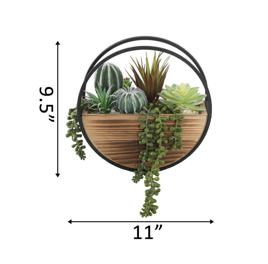 Round Wood & Metal Wall Planter
