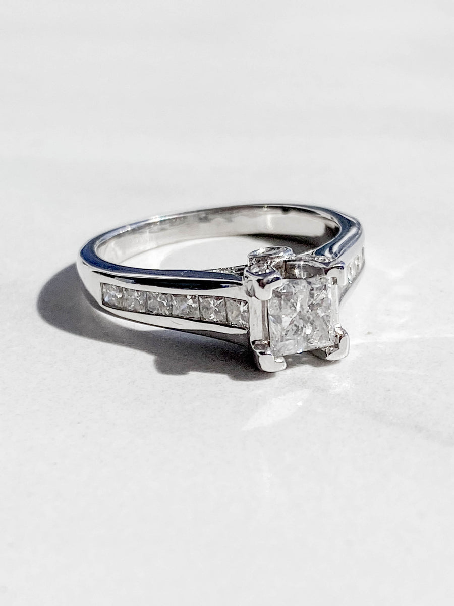 14K White Gold Princess Cut Engagement Ring - R1949
