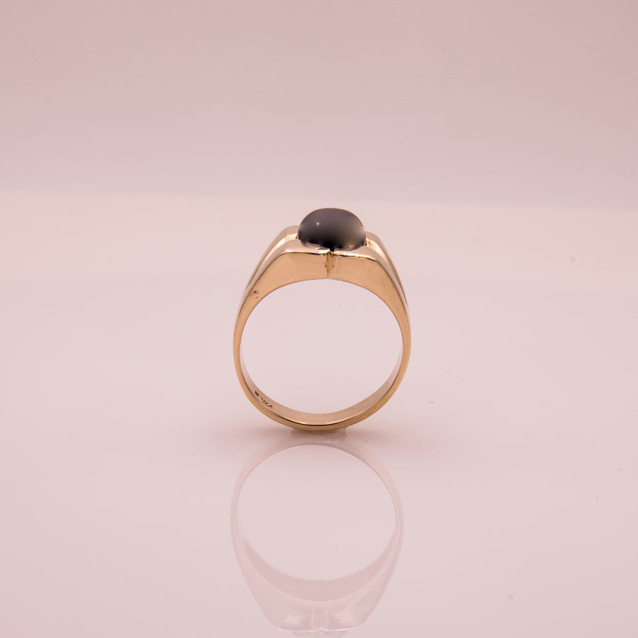 Black Pearl Ring in 14K Yellow Gold - R1861