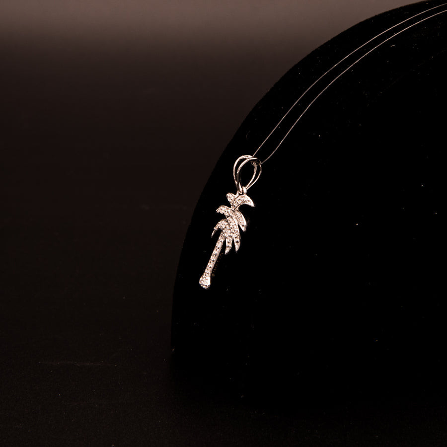 Palm Tree Pendant in 14K White Gold - PD0089