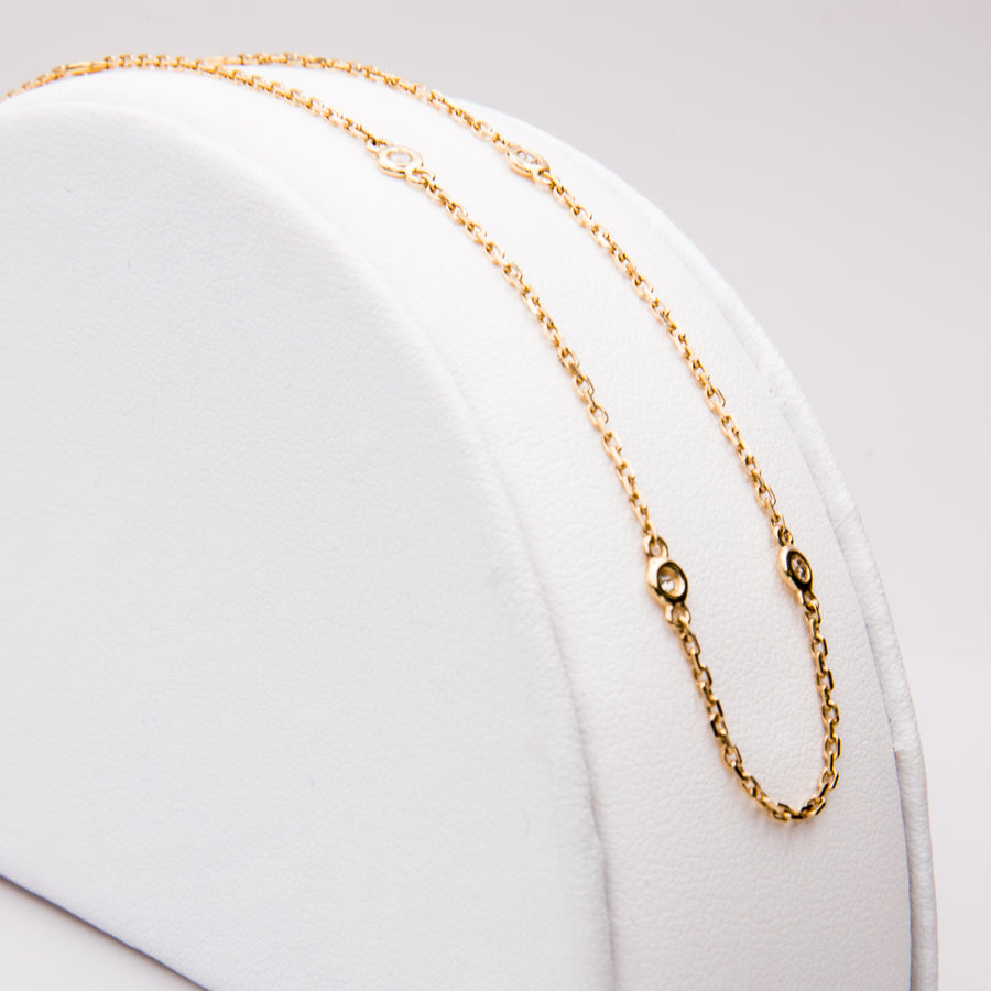 18K Yellow gold Necklace with Bezel Set Diamonds - NL0020