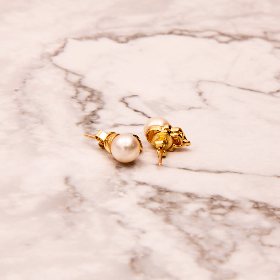18K Yellow Gold Pearl and Diamond Earrings - E337