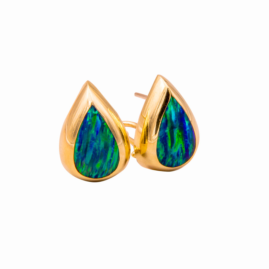 Fashion Earrings with Green Opals in 14K Yellow Gold - E328