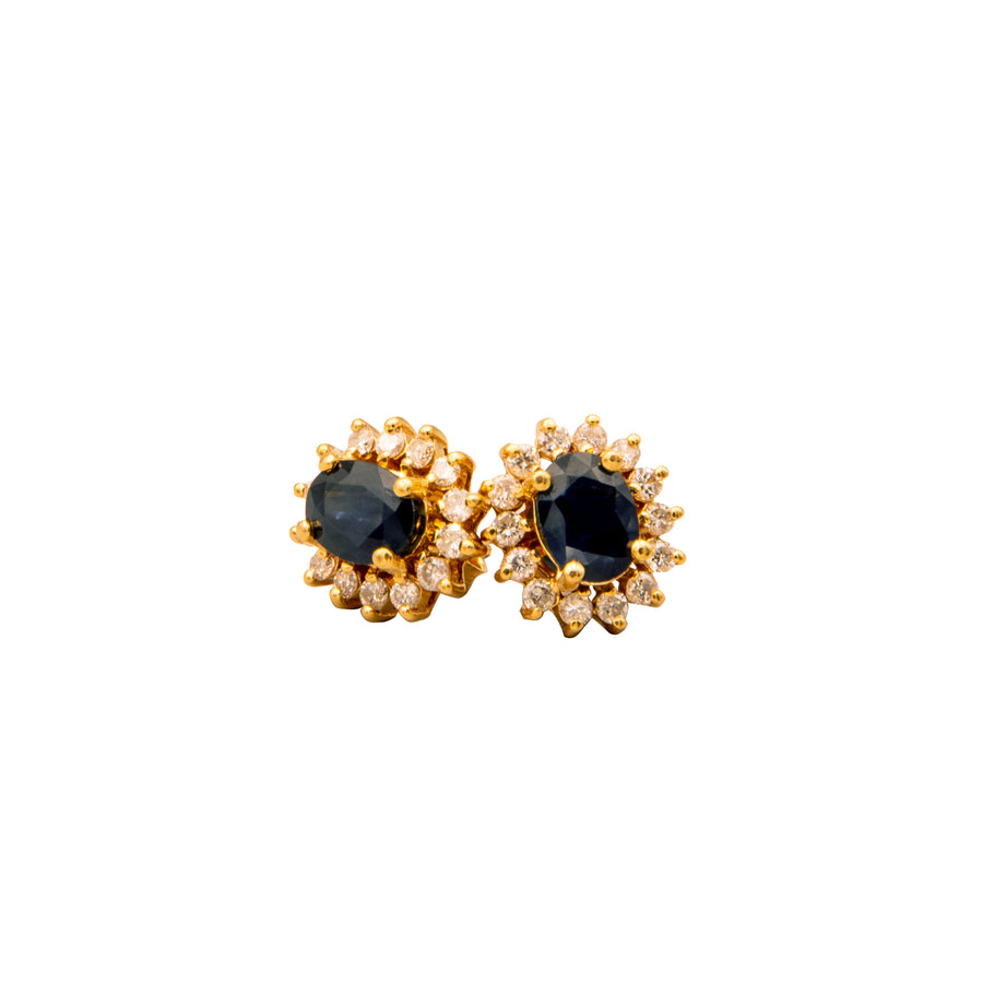 Dark Blue Sapphire & Diamond Sunburst Earrings in 14K Yellow Gold - E329