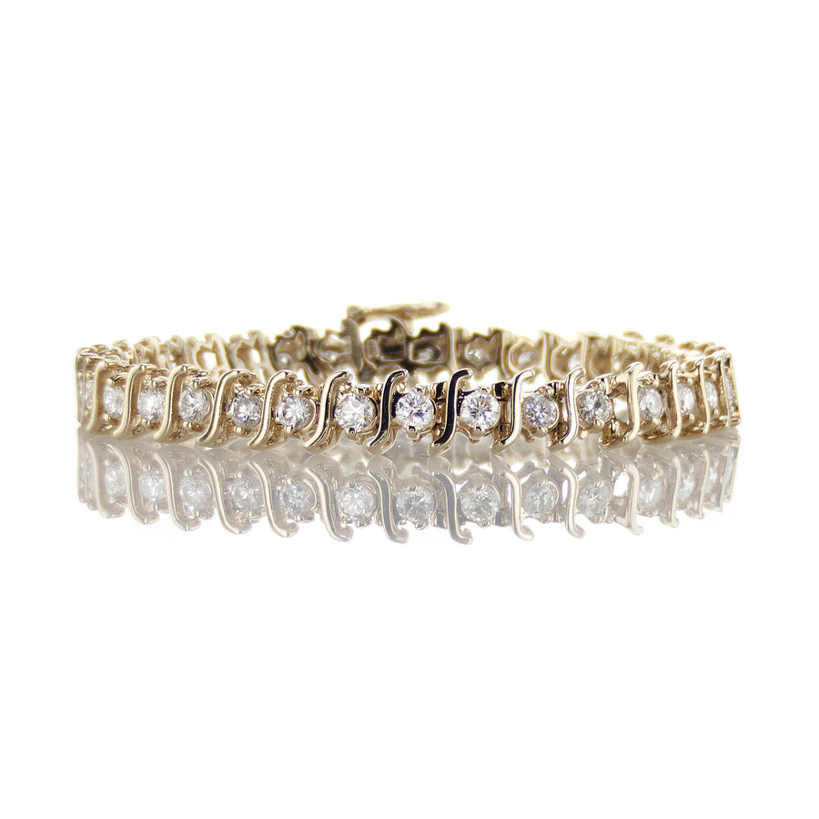 Gold Swoop Diamond Tennis Bracelet - B137