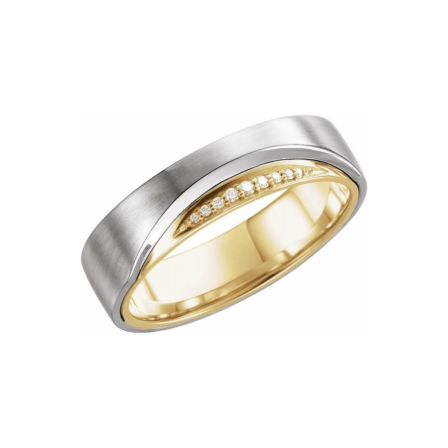 Men's Band in 14K White and Yellow Gold  - BN0012