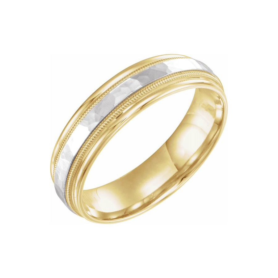 6 mm Design Band with Milgrain in 14K Yellow and White Gold - BN0097