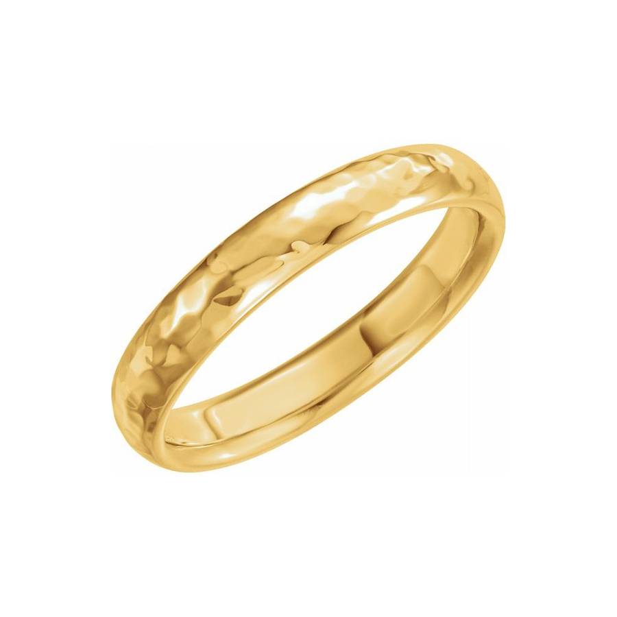 Half Round Hammer Finish Band in 14K Yellow Gold - BN0249