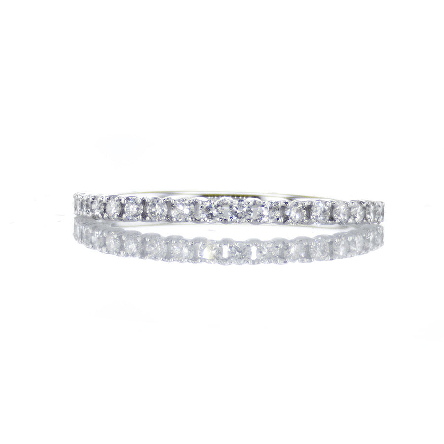 Classic Thin Diamond Band in 18K White Gold - BN0366