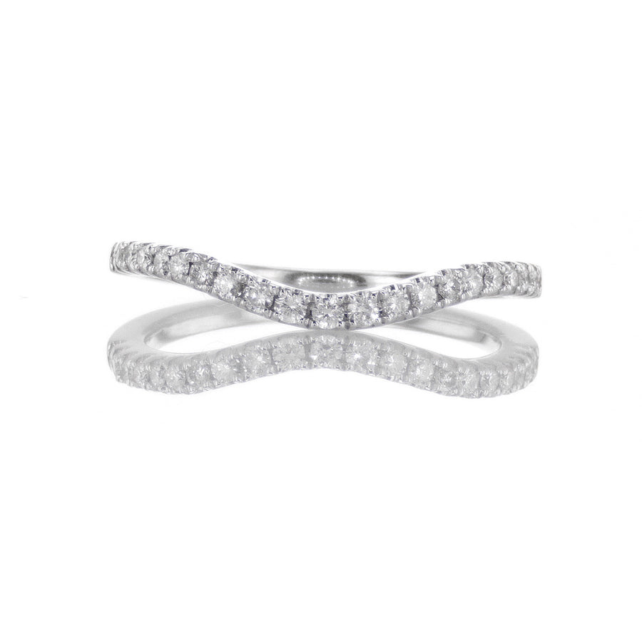 18K White Gold Thin Curved Halfway Diamond Band - BN0371
