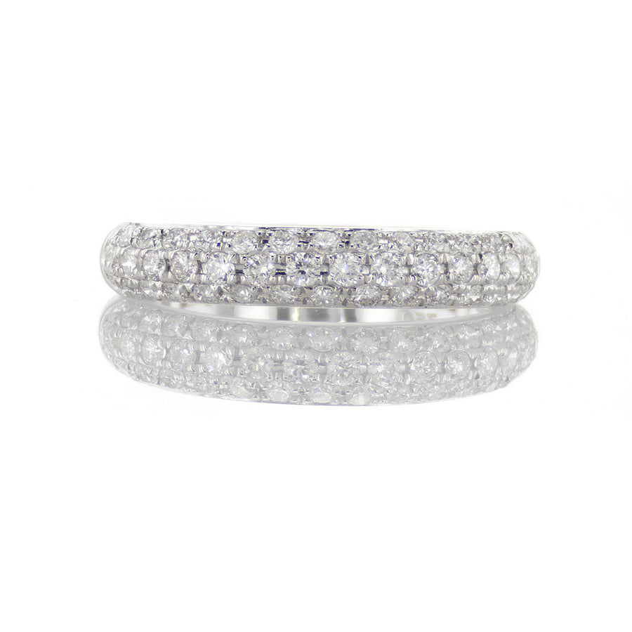 18K White Gold Triple Row Pave Diamond Band - BN0374