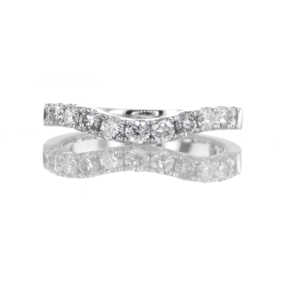 Curved Diamond Band in 18K White Gold - BN0384