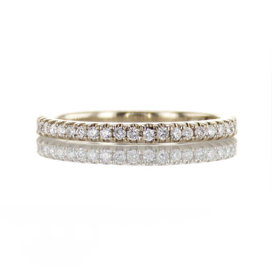 18K Yellow Gold Thin Classic Pave Diamond Band - BN0392