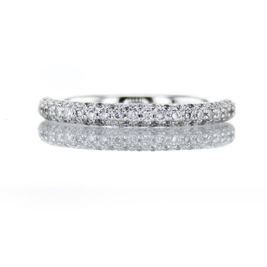 18K White Gold Micropave Diamond Band - BN0400