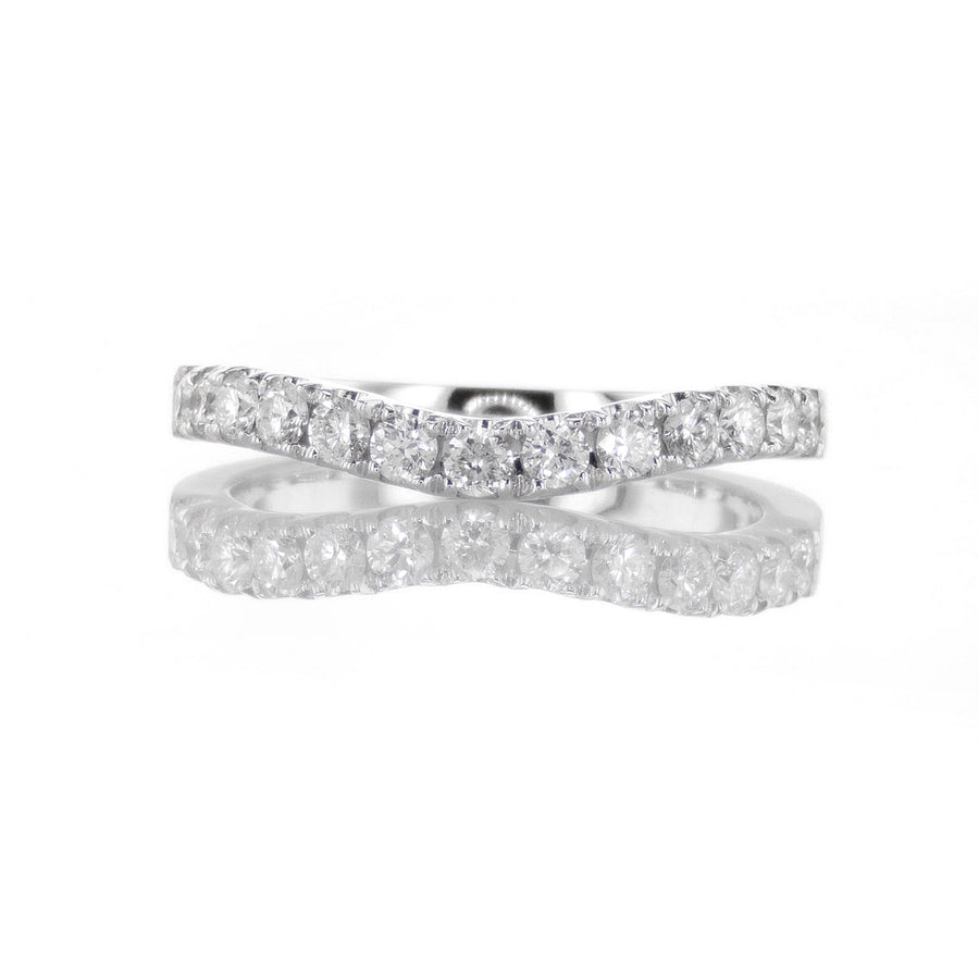 Curved Diamond Pave Band in 18K White Gold - BN0405
