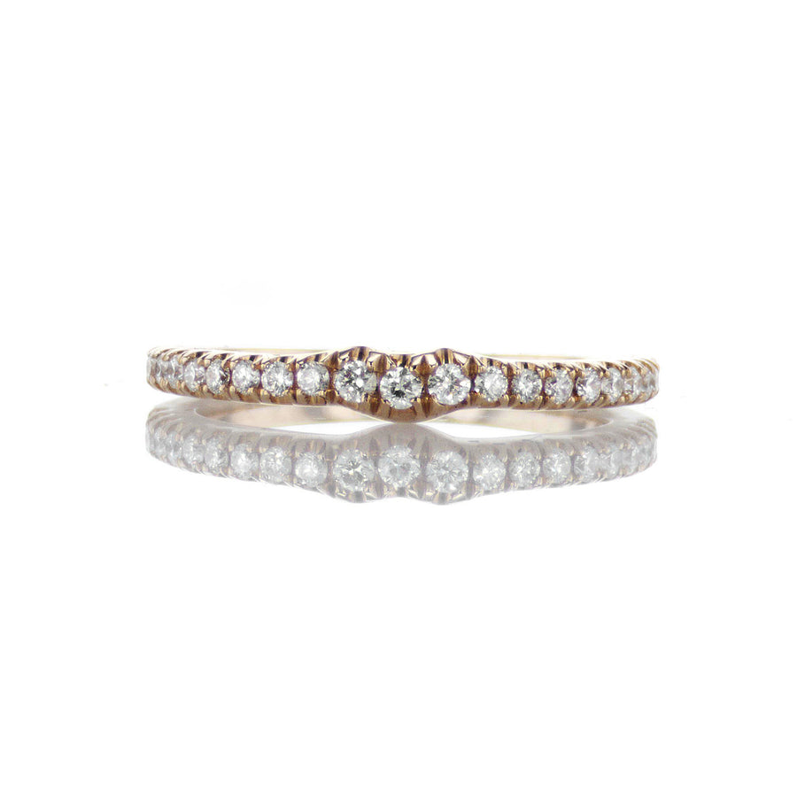 Slightly Curved Diamond Band in 18K Rose Gold - BN0430
