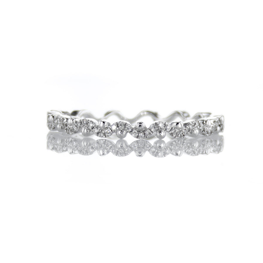 Dot Accented Diamond Encrusted Wave Pattern Band in 18K White Gold - BN0472