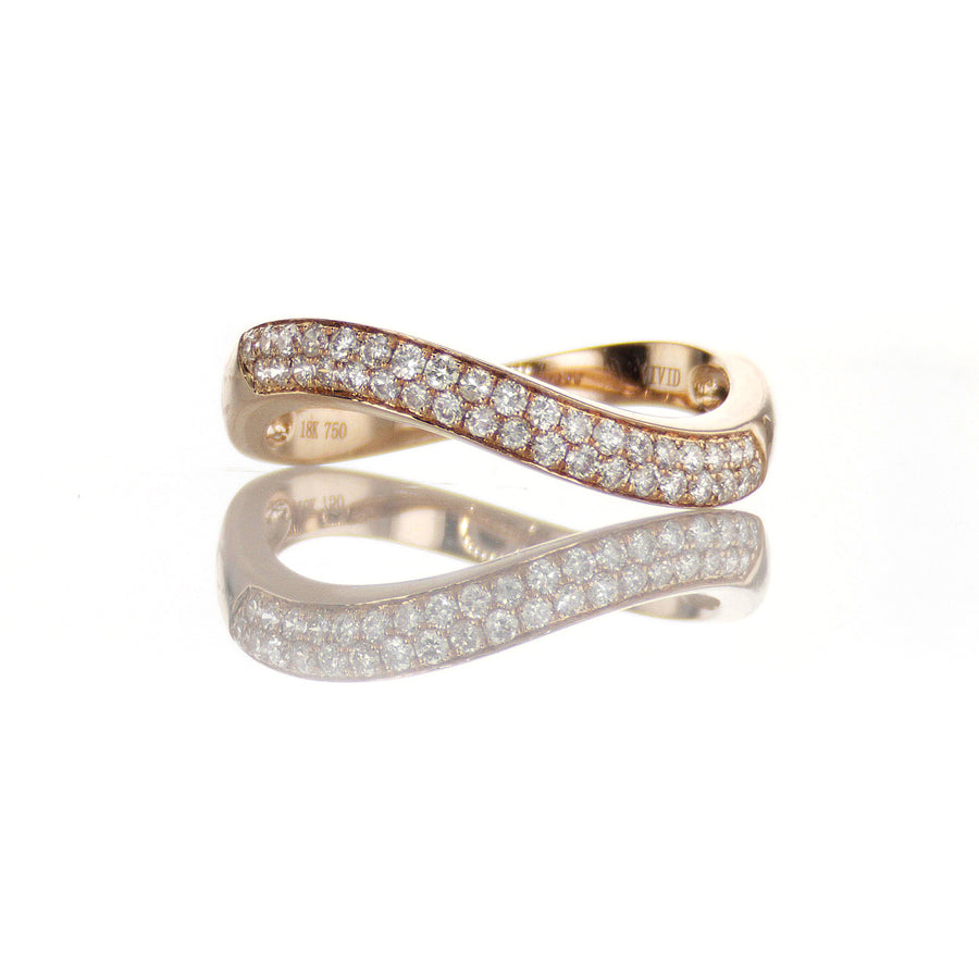 Swoop Top Diamond Band in 18K Rose Gold - BN0477