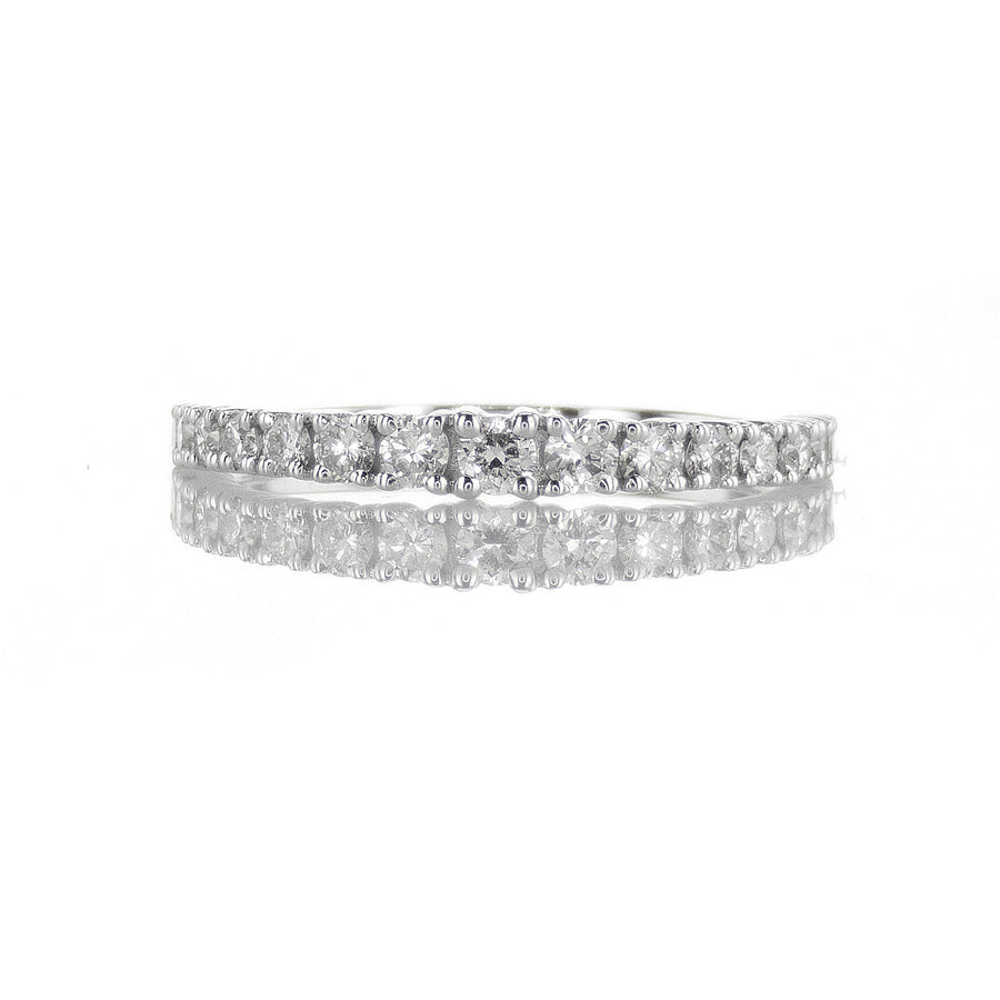18K White Gold Slightly Graduated Diamond Band - BN0479