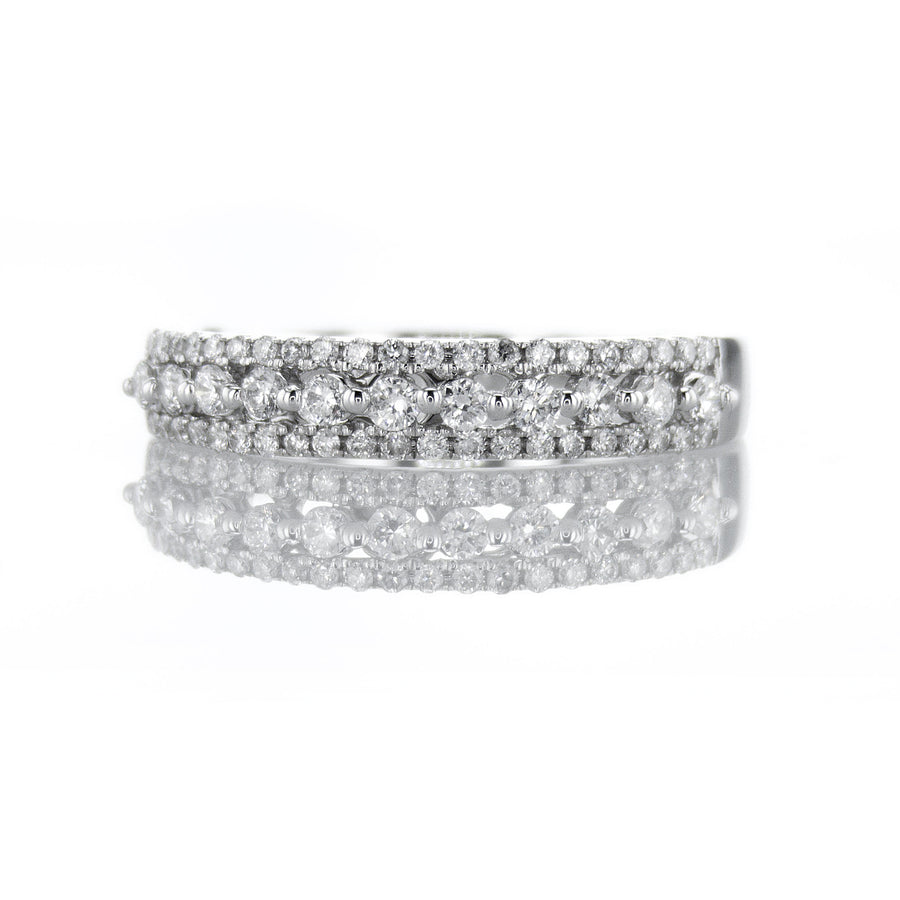18K White Gold Tapered Three Row Halfway Diamond Band - BN0492