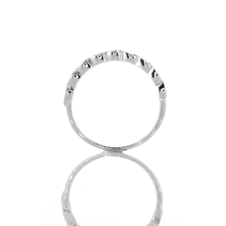 18K White Gold Slanted Marquise Halfway Band - BN0513