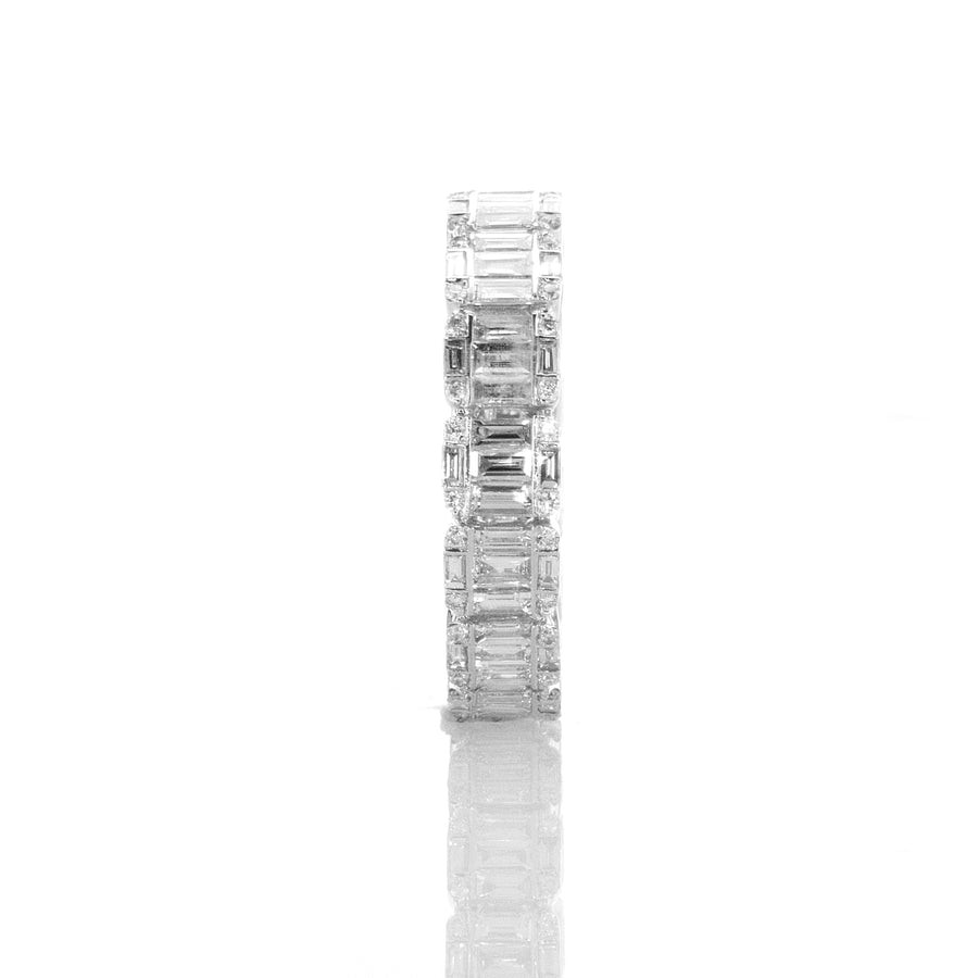 Baguette Cluster Chunky Eternity Band in 18K White Gold - BN0516