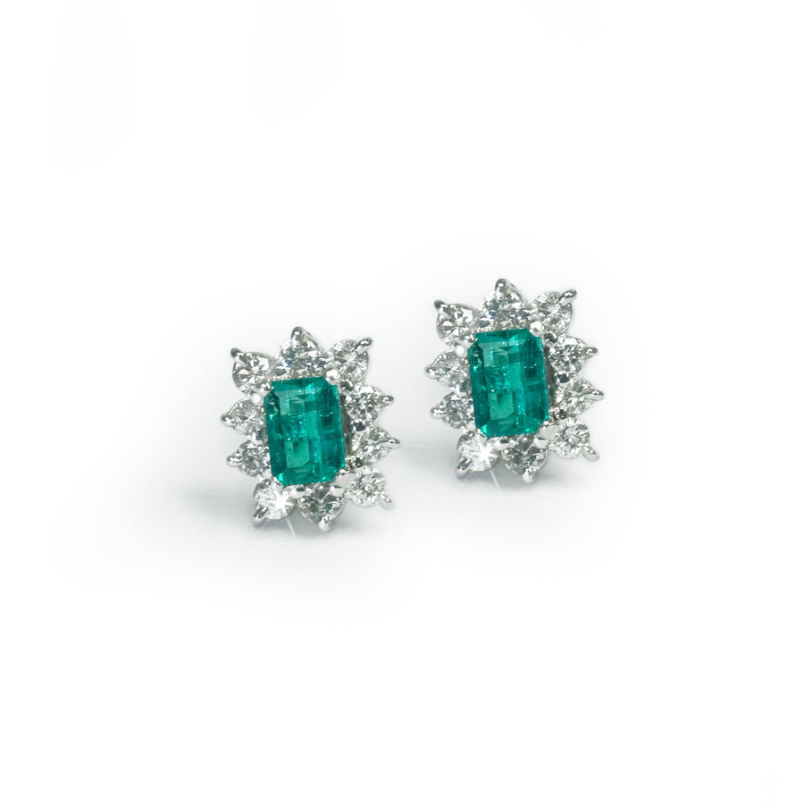 Emerald-Cut Emerald Stud Earrings with Diamond Sunburst Halo in 18K White Gold - E349