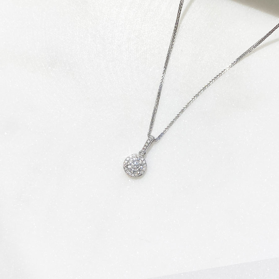 Diamond Bail Round Halo Pendant in 18K White Gold - PD0091
