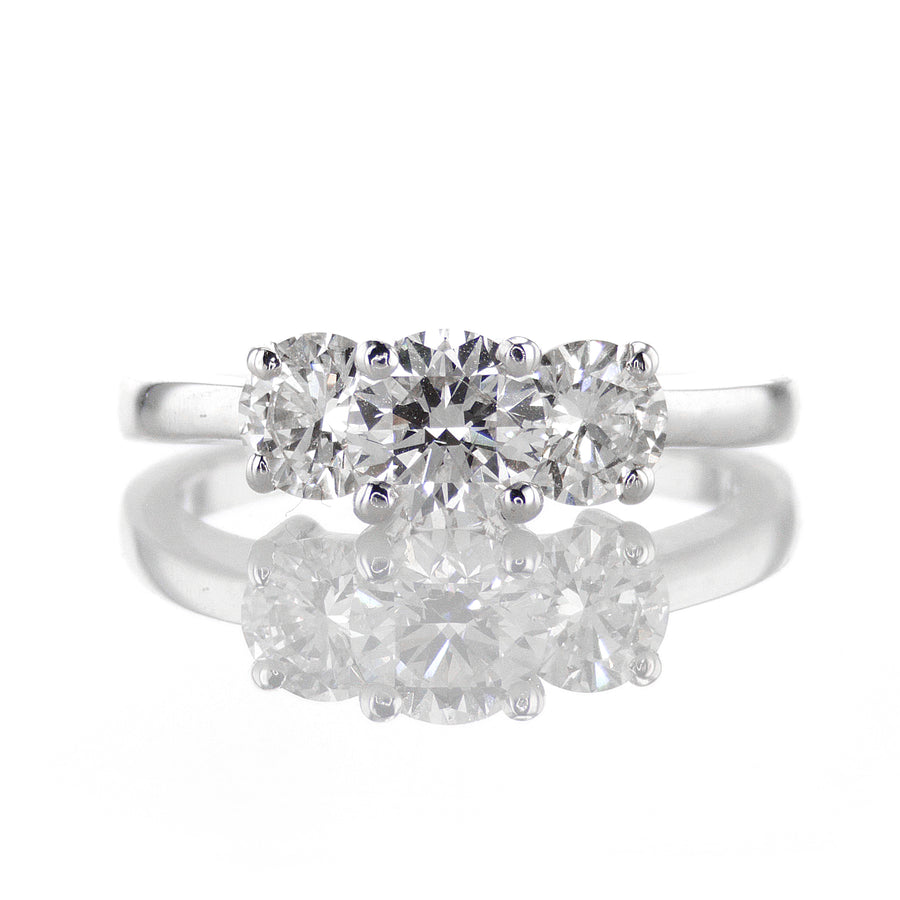 Three Stone Ring in 14K White Gold - R1154