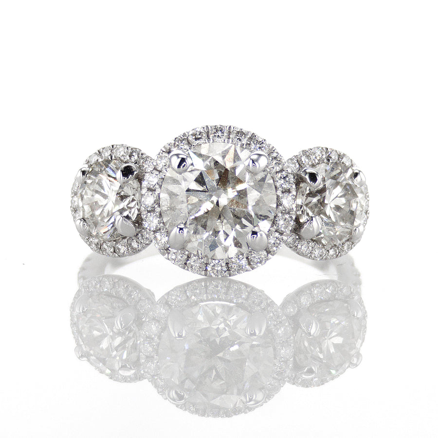 18K White Gold Three Stone Halo Ring, EGL Certified - R1319