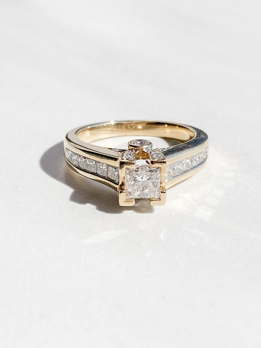 14K Yellow Gold Princess Cut Engagement Ring - R2195