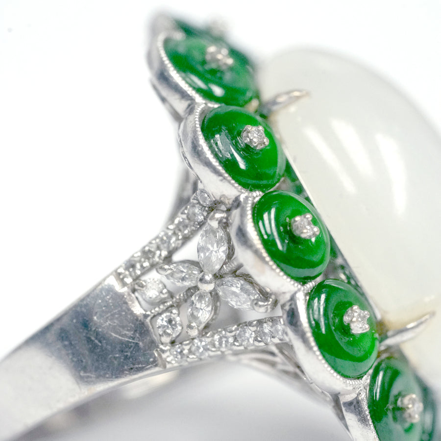 Flowery Opaque White Jade Center with Green Jade Petals Accented with Diamonds - R2203
