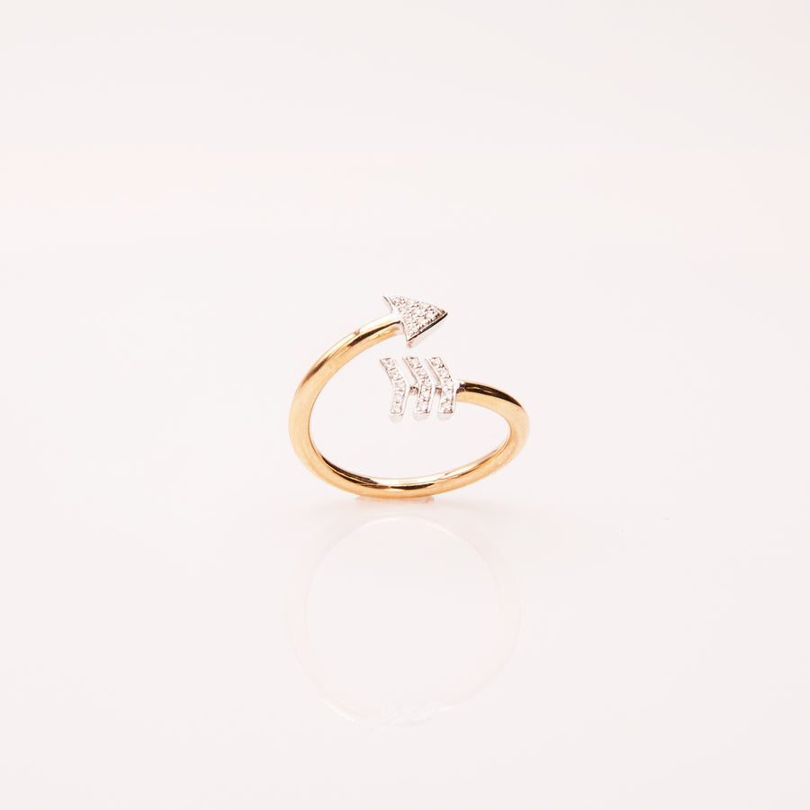 Two-Tone Arrow Bypass Ring in 18K Rose Gold - RG0183