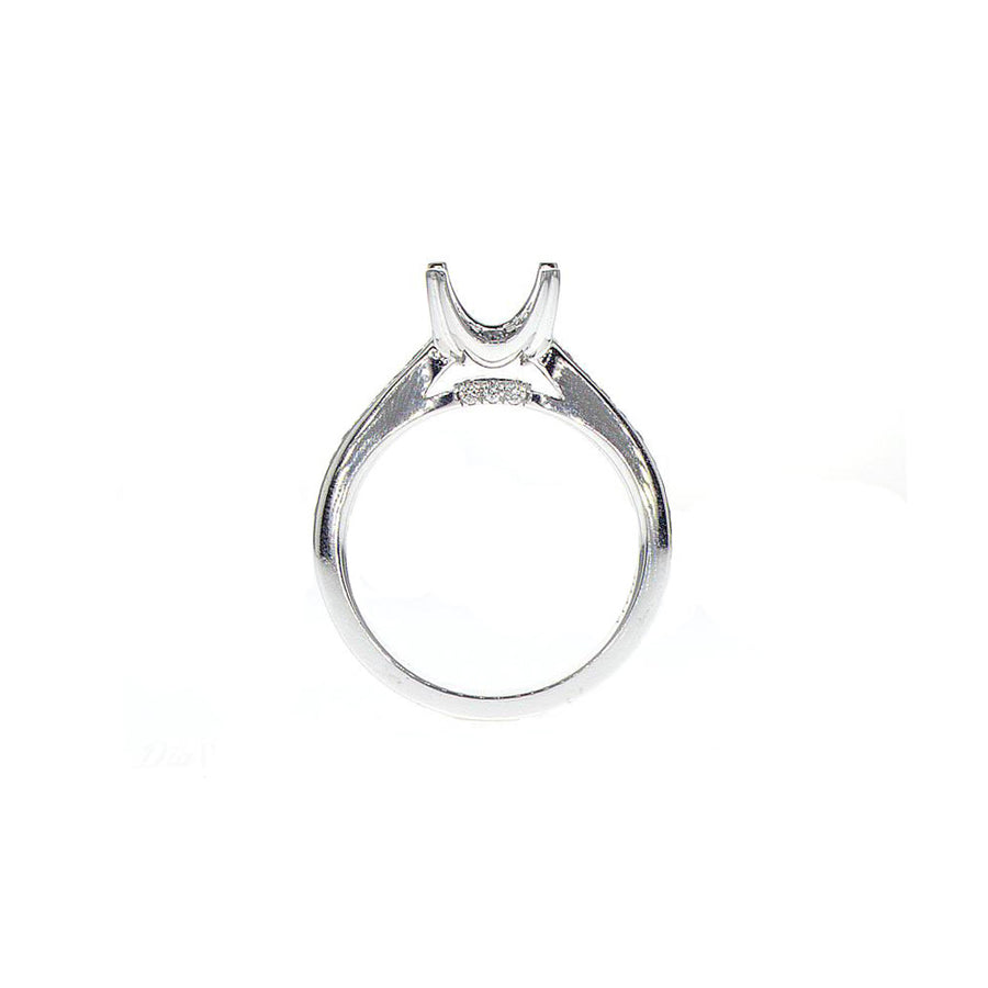 Encrusted Square Crescent Moon Head Semi-Mount in 18K White Gold - SM0282