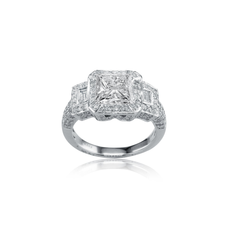 18K White Gold Three Stone Two Row Halfway Semi-Mount - SM0337