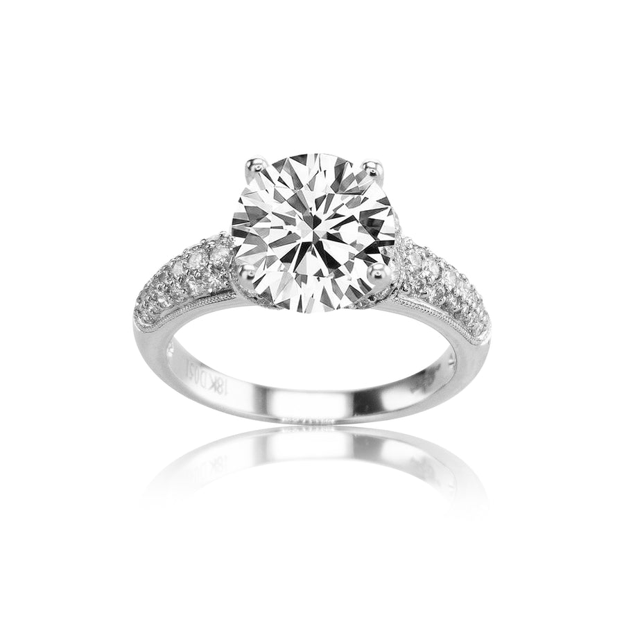 18K White Gold Milgrain Pave 4 Prong Semi-Mount - SM0413
