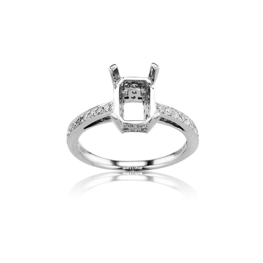 Classic Radiant Head Channel Set Semi-Mount in 18K White Gold - SM0444