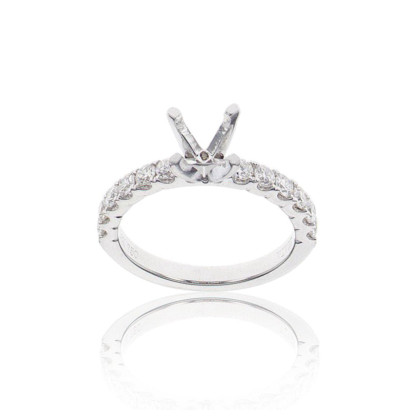 Classic Pave Solitaire Semi-Mount in 18K White Gold - SM0459