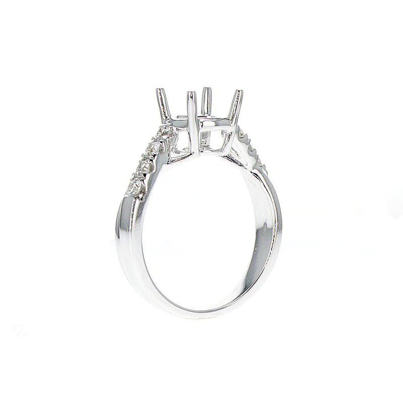 18K White Gold Twisted Pave Halfway Semi-Mount - SM0543