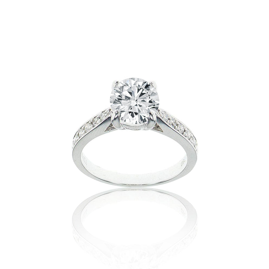 Classic Solitaire Channel Halfway Semi-Mount Ring in 18K White Gold - SM0573